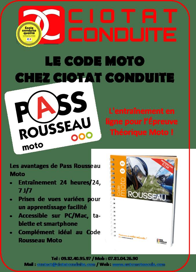 Code en Ligne MOTO ETM CIOTAT CONDUITE CODES ROUSSEAU PASS ROUSSEAU MOTO
