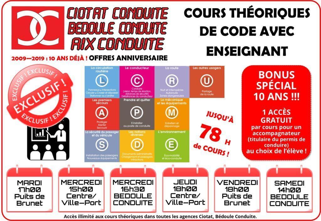 Affichage Horaires Cours Théoriques de Code CIOTAT CONDUITE-Puits de Brunet CIOTAT CONDUITE Centre-Ville/Port BEDOULE CONDUITE